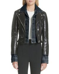 Alexander Wang - Denim & Leather Layered Jacket - Lyst