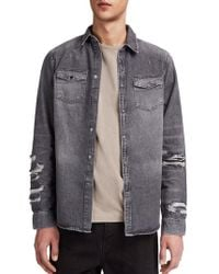 AllSaints - Beegan Distressed Denim Shirt Jacket - Lyst