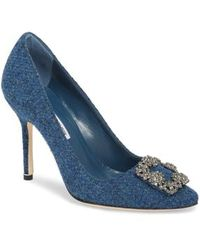 Manolo Blahnik - Hangisi Jewel Buckle Pump - Lyst