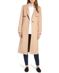 Kenneth Cole - Double Face Wool Blend Long Coat - Lyst