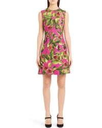 Dolce & Gabbana - Sleeveless A-line Fig-print Brocade Dress - Lyst