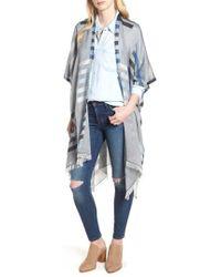 Echo - Bay Stripe Yarn Dyed Ruana - Lyst