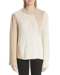 Co. - Patchwork Cable Knit Sweater - Lyst