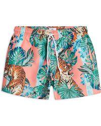 TOPMAN - Tiger Print Swim Shorts - Lyst