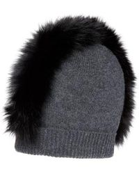 2003603bba3 Charlotte Simone - Mo Mohawk Cashmere Beanie With Genuine Fox Fur Trim -  Lyst