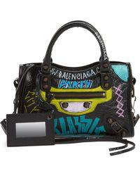 Balenciaga - Mini City Graffiti Leather Tote - - Lyst
