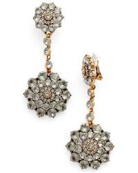 Oscar de la Renta | 'classic Jeweled' Swarovski Crystal Drop Earrings | Lyst