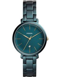 Fossil - Jacqueline Three-hand Date Teal Green Stainless Steel Watch - Lyst