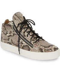 0c08f69135f2a Burberry Buckle Detail Leather And Snakeskin High-top Trainers in ...