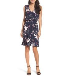 Eliza J - Print Surplice Dress - Lyst