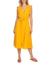 1.STATE - Button Front Midi Dress - Lyst