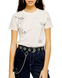 TOPSHOP Embroidered Doodle Tee