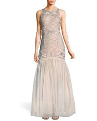 Adrianna Papell - Beaded Tulle Trumpet Gown - Lyst
