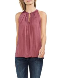Vince Camuto - Rumpled Satin Keyhole Top - Lyst