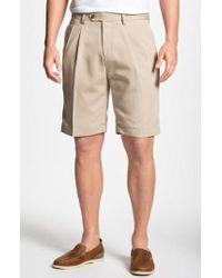 Cutter & Buck | Double Pleated Microfiber Twill Shorts | Lyst