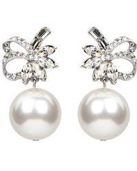 Ben-Amun - Deco Ribbon Crystal & Imitation Pearl Drop Earrings - Lyst