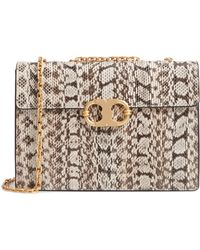 62471a2637a4 Lyst - Tory Burch Quilted Leather Chain-link Shoulder Bag Orange in ...