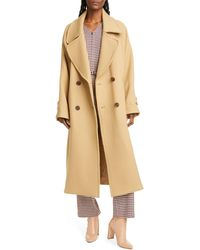 Sea Amber Double Breasted Wool Coat - Natural