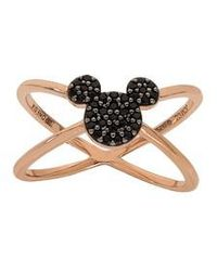 Disney - Mickey Mouse Rose Gold & Black Nano Stone Cross Ring - Lyst