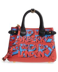Burberry - Small Banner Graffiti Leather Tote - - Lyst