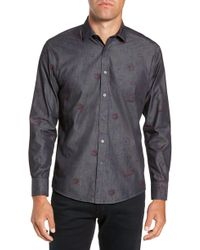 Vince Camuto - Slim Fit Floral Chambray Sport Shirt - Lyst
