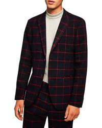 TOPMAN - Skinny Fit Check Suit Jacket - Lyst