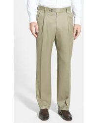 Berle - Pleated Wool Gabardine Trousers - Lyst