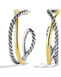 David Yurman - 'crossover' Hoop Earrings With Gold - Lyst