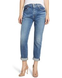 7 For All Mankind - 7 For All Mankind Josefina High Waist Rolled Hem Boyfriend Jeans - Lyst