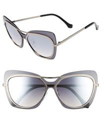 Balenciaga | 57mm Layered Butterfly Sunglasses - Ruthenium/ Black/ Silver | Lyst