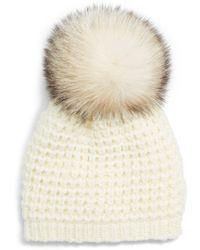 0378222bcb4 Lyst - Kyi Kyi Faux Fur Pompom Wool Blend Classic Beanie