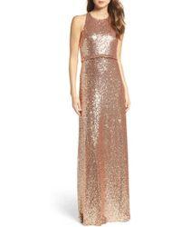 Jenny Yoo - Sloane Sequin Halter Gown - Lyst