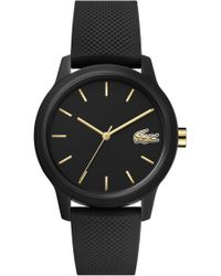 e814f169d Lacoste Unisex Chronograph 12.12 Black Silicone Strap Watch 44mm 2010821 in  Black - Lyst