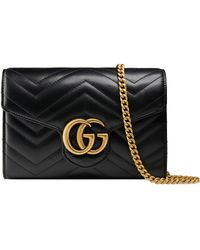 Gucci - Gg Marmont Matelasse Leather Wallet On A Chain - Lyst