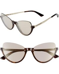 96f3bb0eb3b8 McQ - 56mm Semi Rimless Cat Eye Sunglasses - Classic Havana/ Gold - Lyst