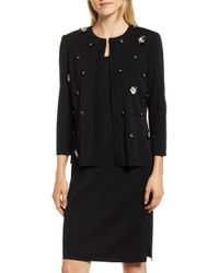 Ming Wang - Floral Embellished Knit Jacket - Lyst