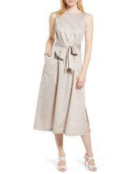 Anne Klein - Carlyle Dot Midi Cotton Dress - Lyst