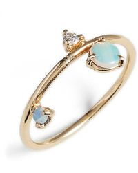 Wwake - Counting Collection Three-step Balloon Opal & Diamond Ring - Lyst