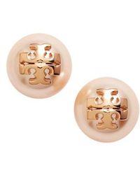 Tory Burch   Swarovski Crystal Pearl Logo Stud Earrings   Lyst