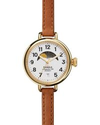 Shinola - 'the Birdy' Moon Phase Leather Strap Watch - Lyst