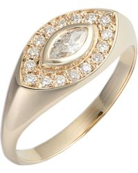 Zoe Chicco - Marquis Diamond Signet Ring - Lyst