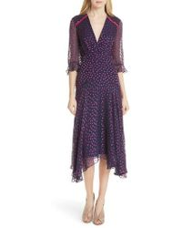 Saloni - Edith Silk Blend Dress - Lyst