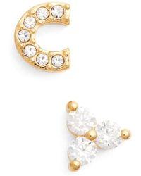 Nadri | Initial Mismatched Stud Earrings | Lyst