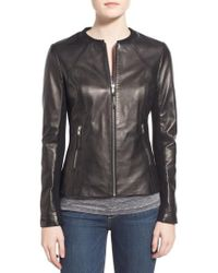 SOIA & KYO - Slim Fit Zip Front Leather Jacket - Lyst