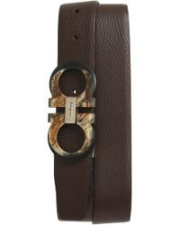 Ferragamo - Double Gancio Reversible Leather Belt - Lyst
