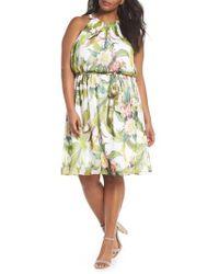 Adrianna Papell - Adrianne Papell Tahitian Tropics Blouson Halter Dress - Lyst