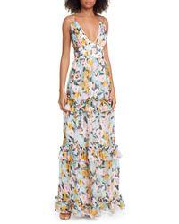754e03e9b0 AMUR - Drew Floral Print Evening Dress - Lyst