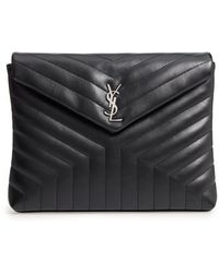 Saint Laurent - Large Loulou Matelasse Leather Pouch - Lyst