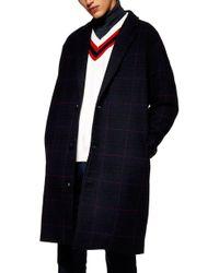 TOPMAN - Hadyn Oversize Check Print Overcoat - Lyst