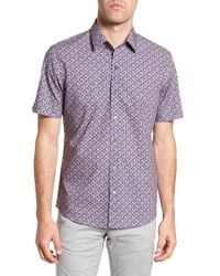 Zachary Prell - Brice Trim Fit Scribble Print Sport Shirt - Lyst